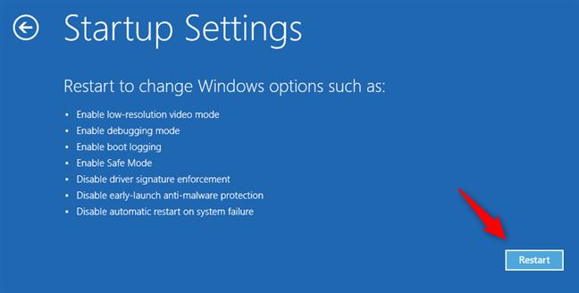 Choose to restart Windows 10