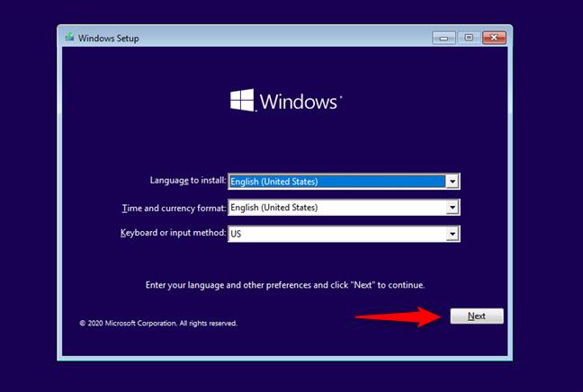 The Windows 10 Setup first screen