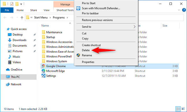Deleting the shortcut of an application from Windows 10's Start Menu