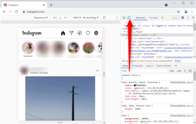 Toggle the device toolbar