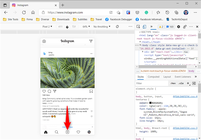 The New Post button is available in Microsoft Edge too