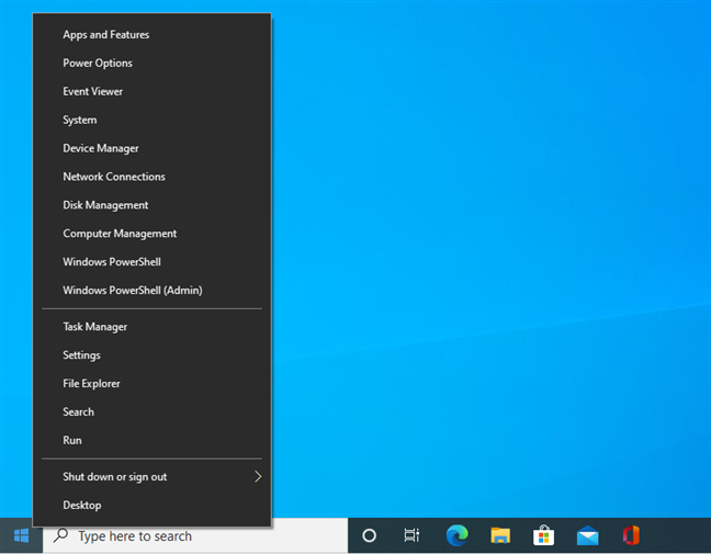 The WinX menu from Windows 10