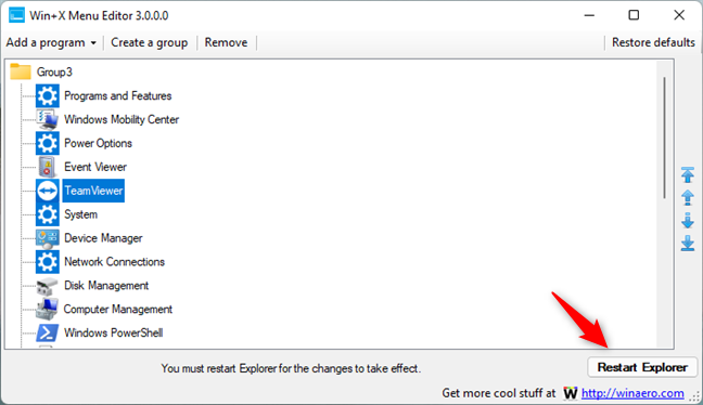 Restart Explorer to apply the changes to the WinX menu