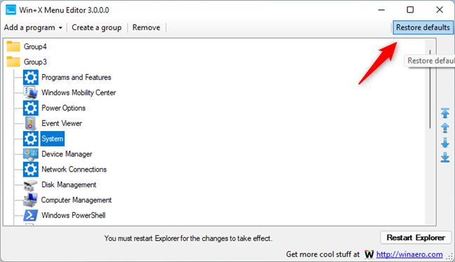 Restore defaults for the WinX menu