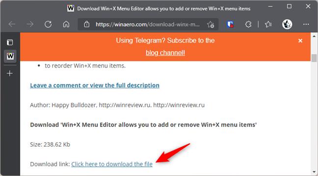 Download the Win+X Menu Editor