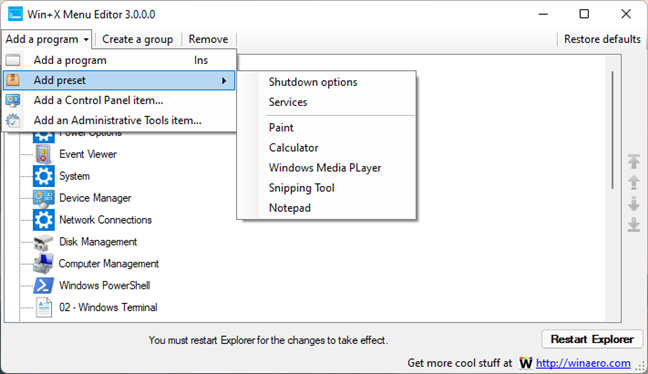 Add a program with Win+X Menu Editor