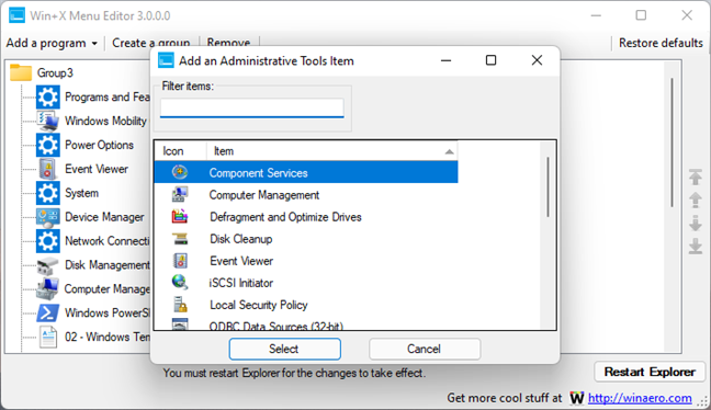 Add an Administrative Tools Item in Win+X Menu Editor