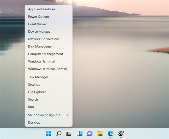 The WinX menu from Windows 11