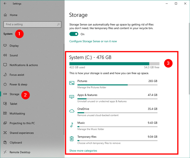 Storage usage for the Windows 10 system drive