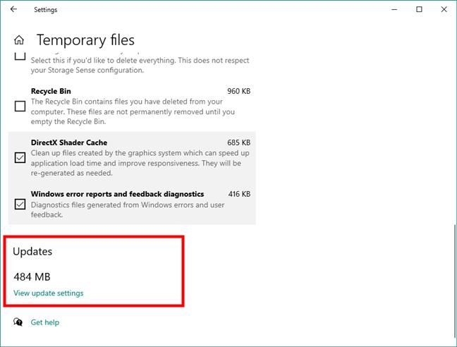 Windows 10 updates storage details