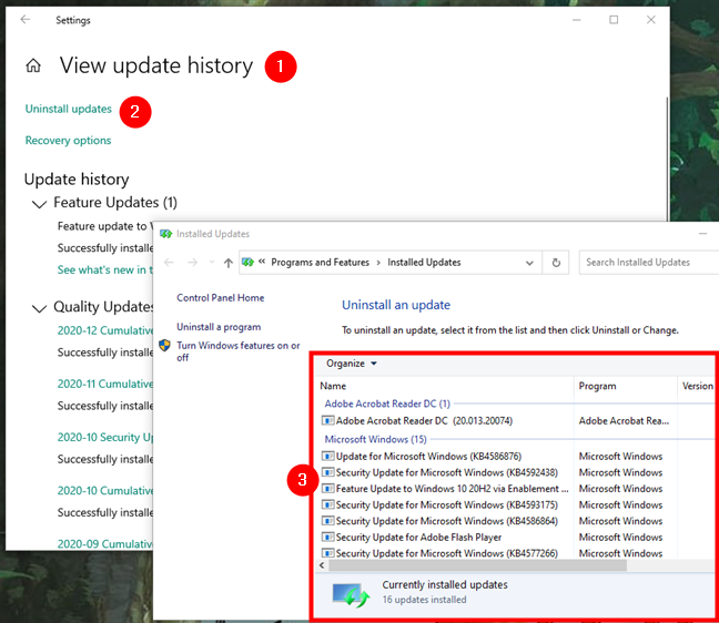 Uninstalling Windows 10 updates