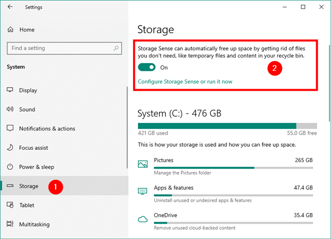 The Storage Sense panel from Settings