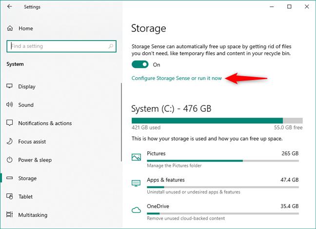 Configure Storage Sense or run it now
