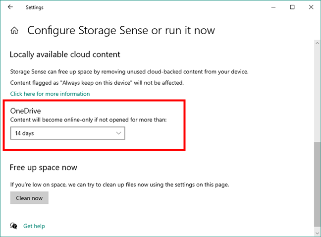 OneDrive cleanup options in Windows 10's Storage Sense