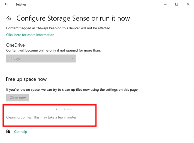 Windows 10 is cleaning up files