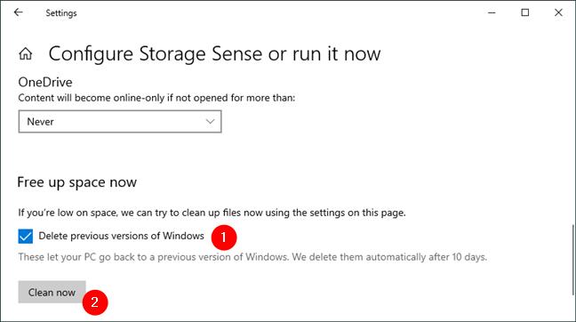 Delete previous versions of Windows (10)