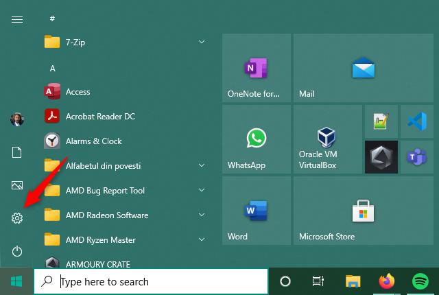 Opening Settings in Windows 10