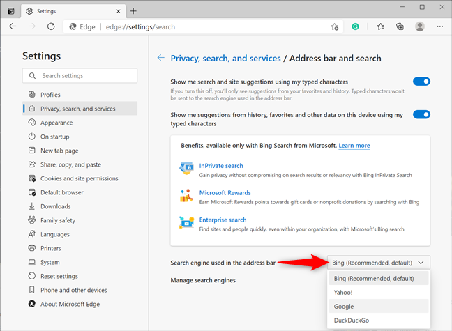 Make Google the default search engine in Microsoft Edge
