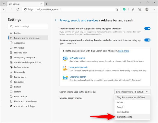 Use a custom site as the default Edge search engine