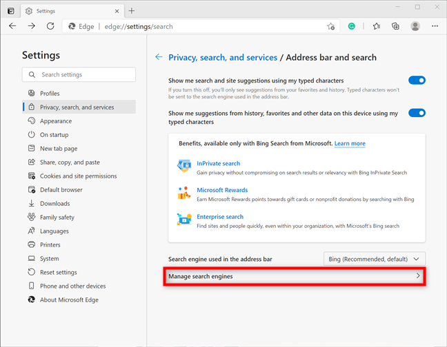 Access more options to Manage search engines