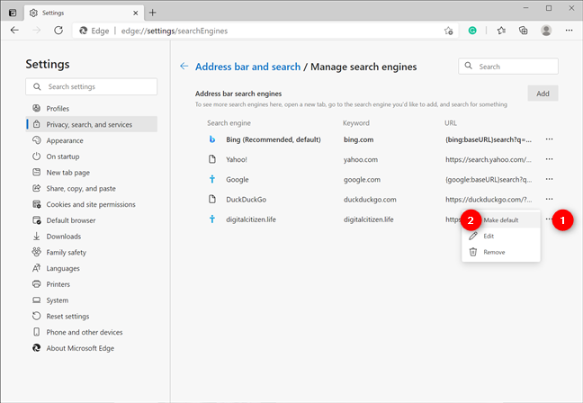 Choose to Make default any OpenSearch site