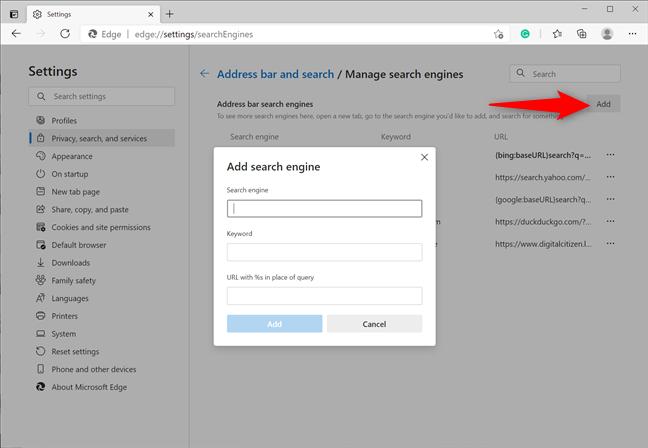 Add a search engine manually