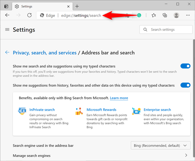 Access Edge's search settings using the address bar