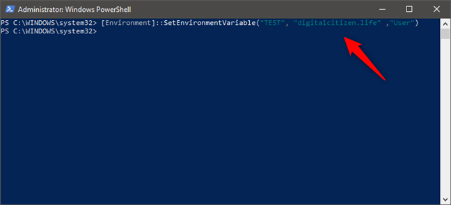 How to set an environment variable with PowerShell