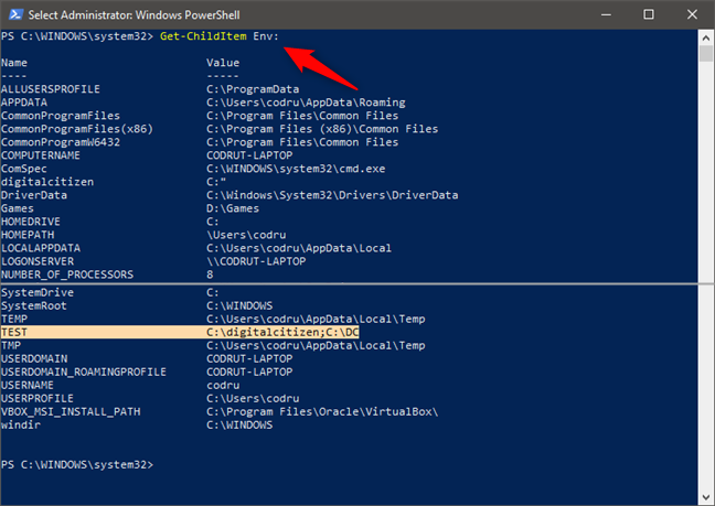 How to see all the environment variables in PowerShell