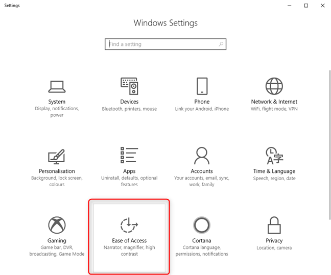 In Windows 10 Settings, go to Ease of Access