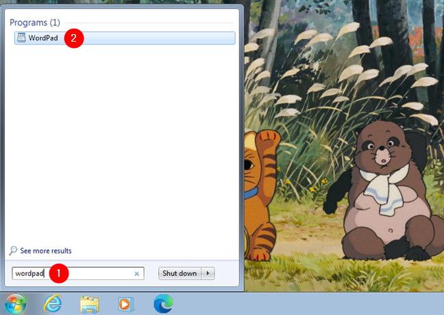 Open WordPad using search in Windows 7