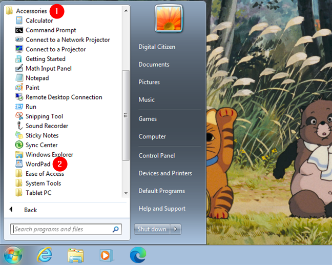 Open WordPad in Windows 7 from the Start Menu