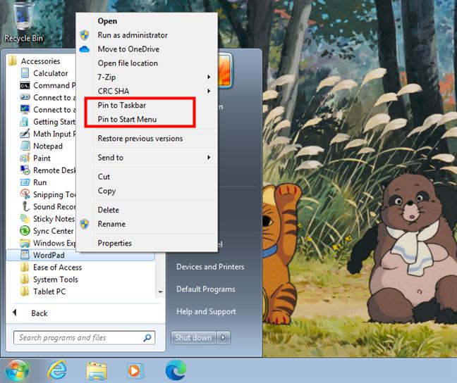 Pin to Taskbar and Pin to Start Menu for WordPad in Windows 7