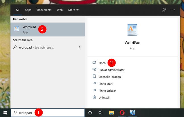 WordPad Windows 10: Open using search