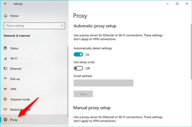 The Windows 10 proxy settings are found in Settings' Proxy section