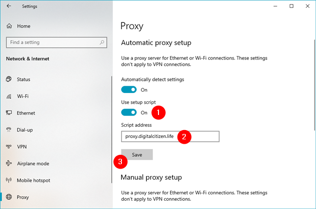 How to configure proxy settings using a script address