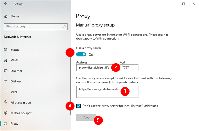How to manually configure proxy settings