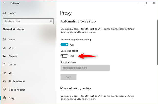 How to disable a proxy server that uses a script address