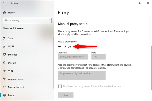 How to disable a proxy server that uses a manual configuration