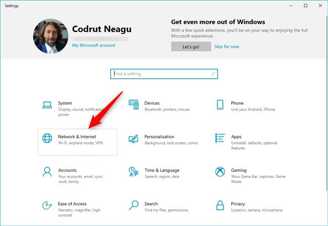 Network & Internet in Windows 10's Settings