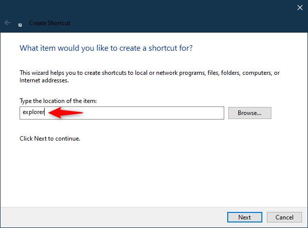 Create (Windows) File Explorer shortcut