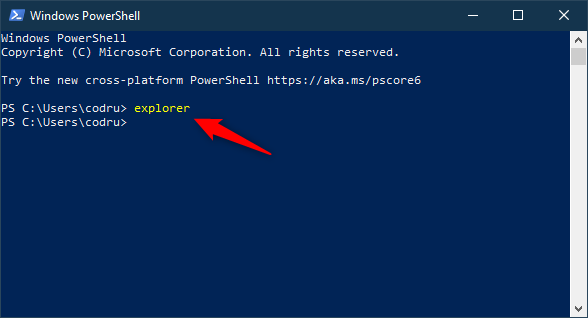Open (Windows) File Explorer using Command Prompt or PowerShell