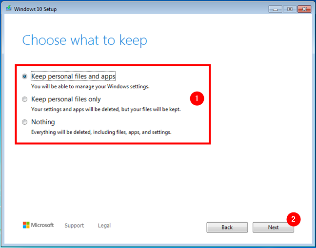Choosing what to keep when doing an upgrade from Windows 7 or 8.1 to Windows 10