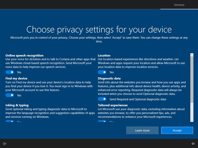 Choosing privacy settings for Windows 10