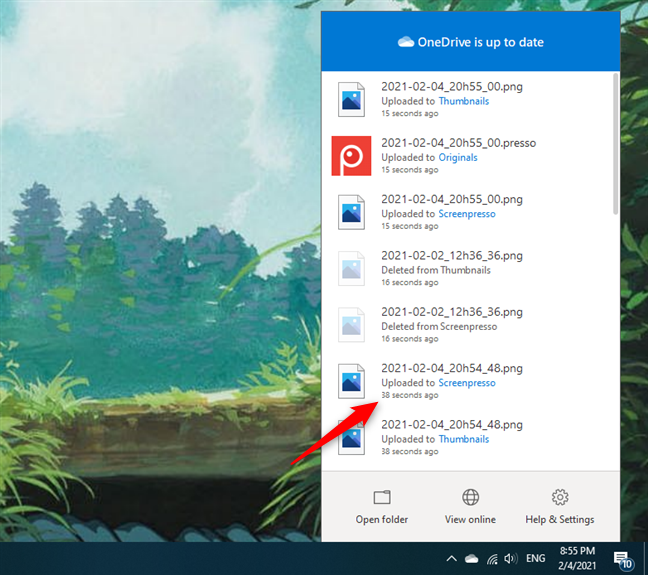 Last sync times shown by OneDrive in Windows 10