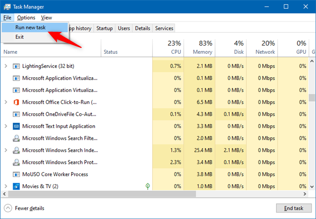 Using Task Manager to Run new task