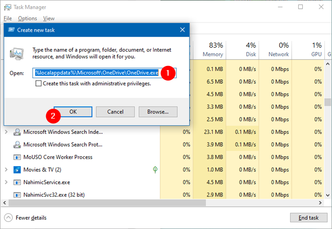 Start OneDrive by running %localappdata%\Microsoft\OneDrive\OneDrive.exe