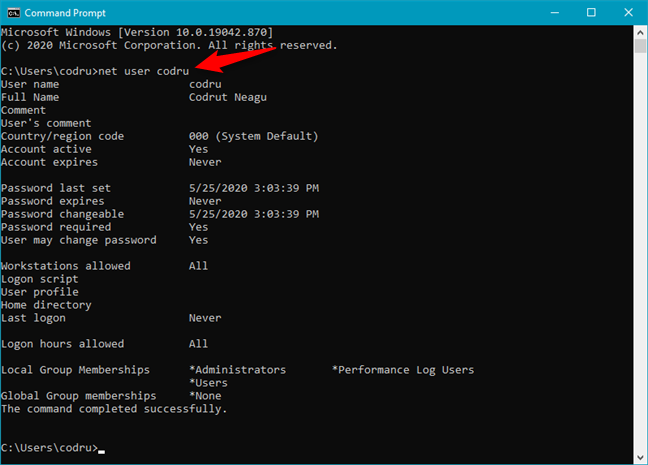 Getting details about a user account in CMD, using the net user command