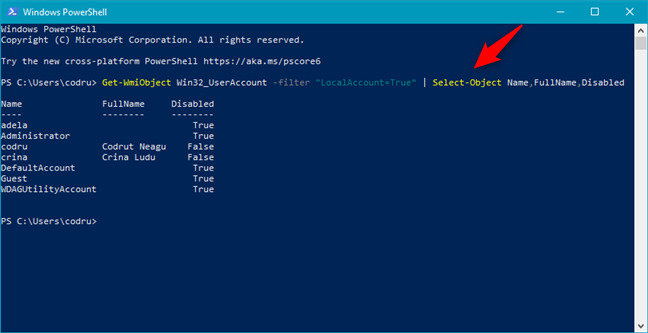 """Get-WmiObject Win32_UserAccount -filter """"LocalAccount=True"""" 