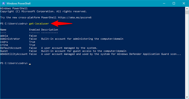 Using PowerShell to get all users on a computer